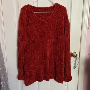 Fluffy Red Knit Sweater